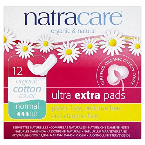 Natracare Organic Cotton Ultra Extra Normal Pads with Wings 12 per pack (PACK OF 4)