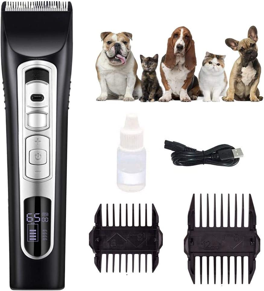 Cortadora de Pelo de Aseo para Mascotas, Cortador de Pelo de Gato y Perro con 4 peines, afeitadoras Recargables USB de bajo Ruido Máquina eléctrica para peluquería de Mascotas para Mascotas