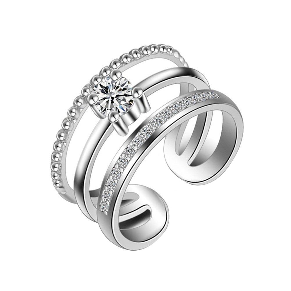 Stampa 1pcs anello moda aperto anello bianco brillante diamante cristallo anelli principessa Argento Anelli Ragazze di donne gioielli accessori Amant regalo colore: argento cod. YXFR012 YXYP