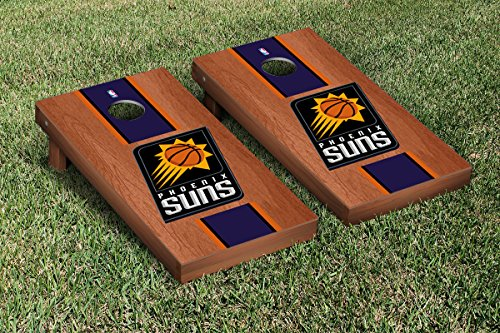 Phoenix Suns NBA Basketball Cornhole Game Set Rosewood Stained Stripe Version by Victory Tailgate
