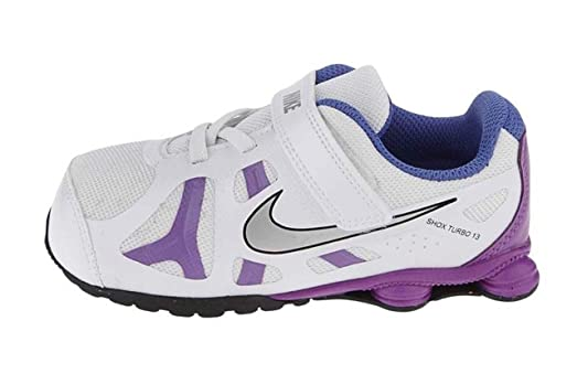 Nike Shox Turbo Little Girls Running Shoes TDV Kids 525238-101 White Purple  6.5 M