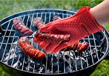 One Pair of Premium Top Rate Thick Silicone Heat Resistant BBQ Oven Cooking Gloves pot holder (One-Size-Fits-Most, Red)