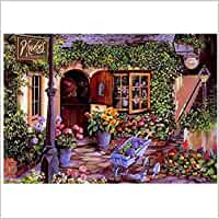 Pintar por números Casa romántica Flores Hojas verdes