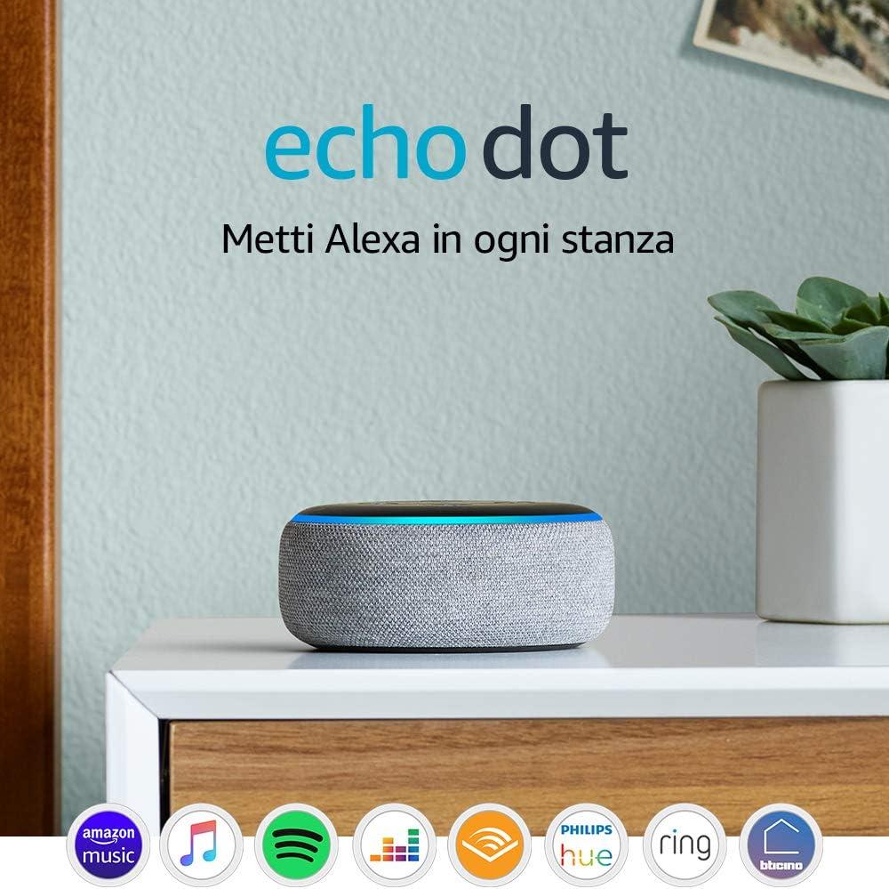 Echo Dot (3� generazione) - Altoparlante intelligente con integrazione Alexa - Tessuto grigio m�lange: Amazon.it