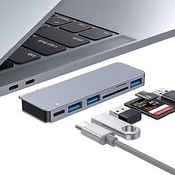 HUB USB C, Adaptador de Concentrador Tipo C 6 en 1 en Aluminio con 3 Puertos USB 3.0, Lector de Tarjetas SD/TF, Suministro de Energía USB-C para ...