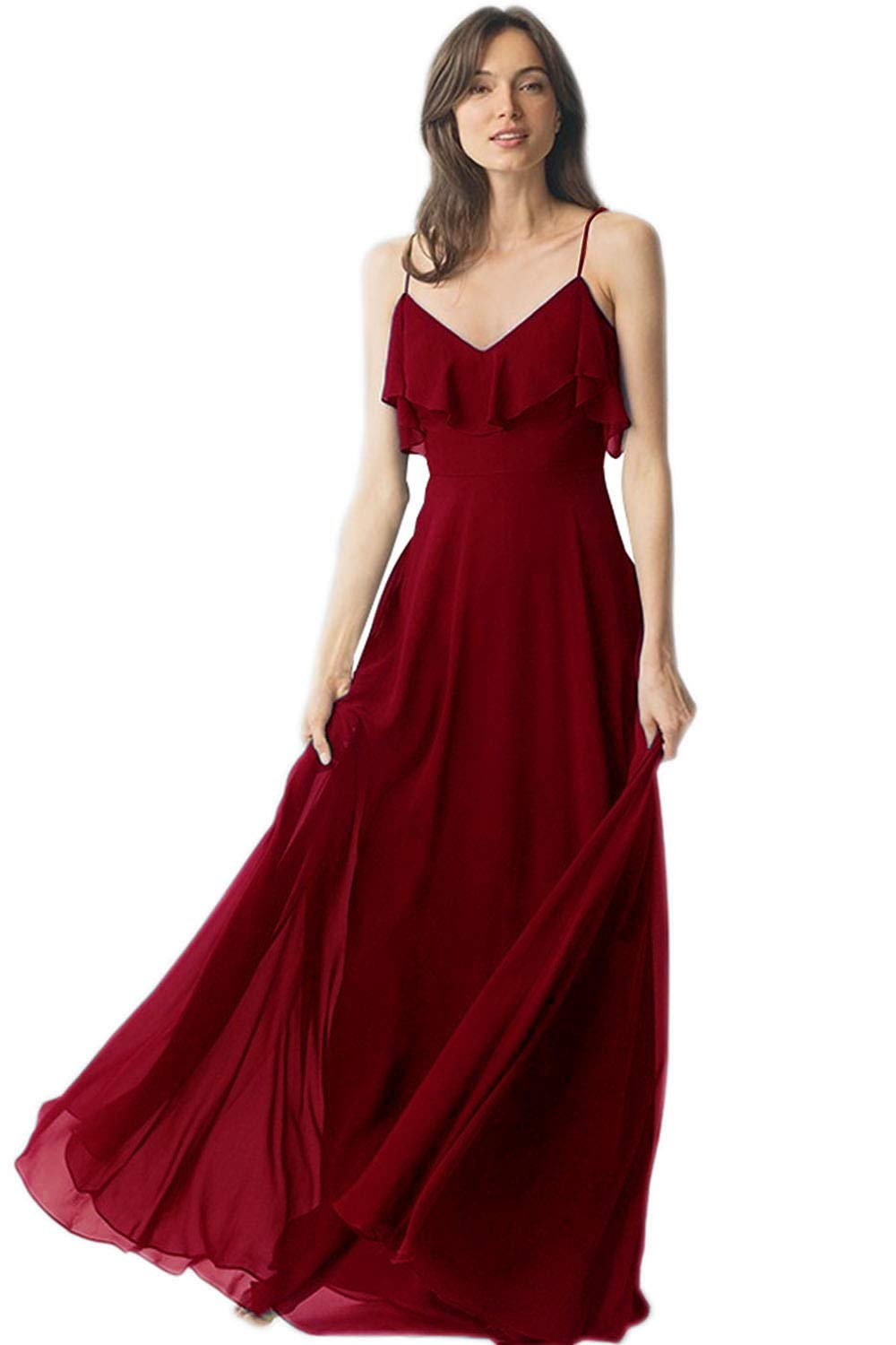 1272723187 Women s V-Neck Off Shoulder Ruched Sleeves Bridesmaid Dress Long Chiffon  Formal Evening Gown Burgundy Size 4
