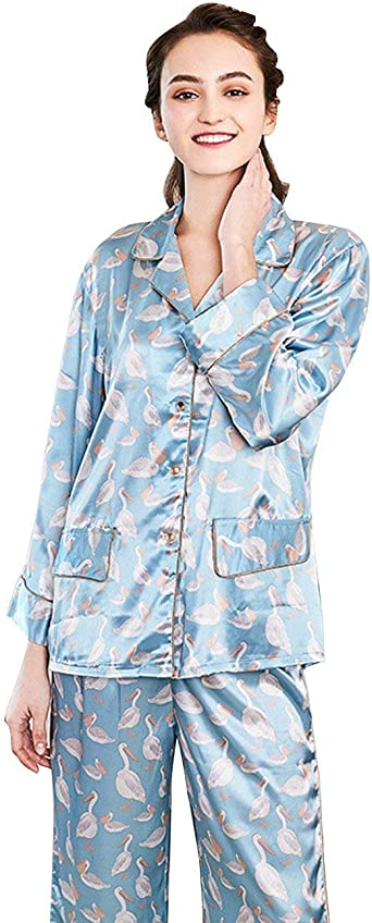 Pijamas Mujer Mujer Primavera Otoño Impresión Camisones Camisas Pantalon Dos Basic Piezas Manga Larga Un Solo Pecho Pijama Batas Ropa (Color : Blau-Tz622, Size : L): Amazon.es: Ropa y accesorios