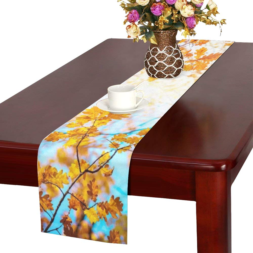 WBSNDB Autumn Landscape Autumn Oak Leafes Very Table Runner, Kitchen Dining Table Runner 16 X 72 Inch for Dinner Parties, Events, Decor