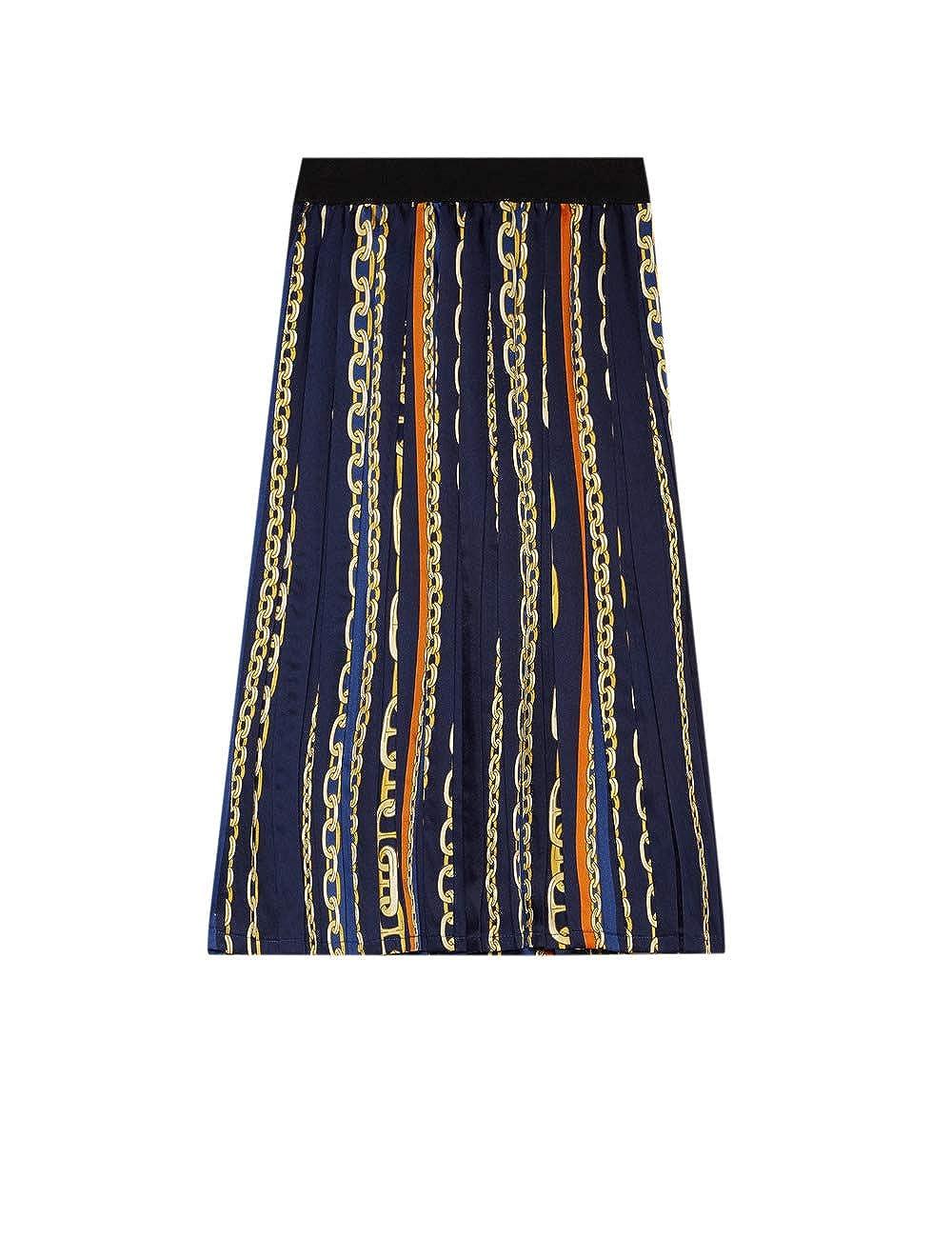 Motivi : Falda con Pliegues Midi Estampada Azul 42 (Italian Size ...