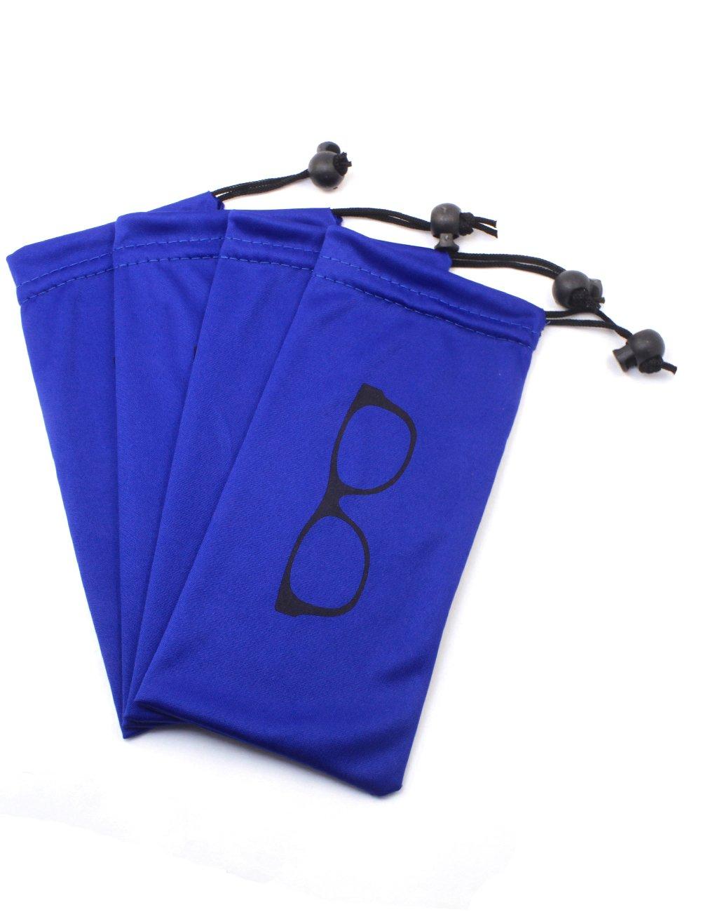 (4 PCS) Drawstring Microfiber Soft Eyeglasses Pouch With Bead Lock (Blue) Global Glasses Studio bag001