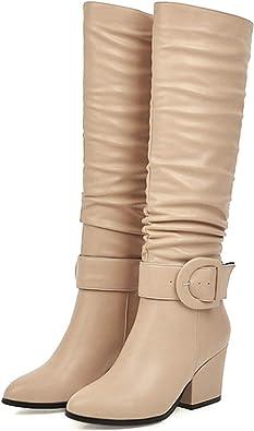 Womens Winter Fashion Round Toe Buckle Strap Block Heel Knee High Knight Boots