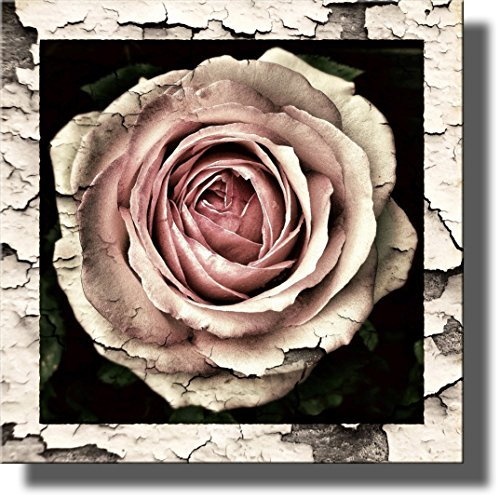 Vintage Rose Flower Picture Made on Stretched Canvas, Wall Art Decor Ready to Hang.