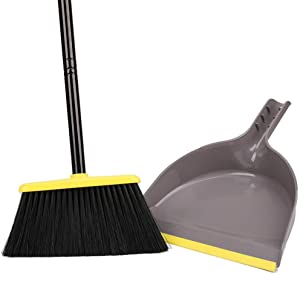 Angle Broom with Dustpan,Dust pan Snaps On Broom Handles,Broom with Attachable Dustpan