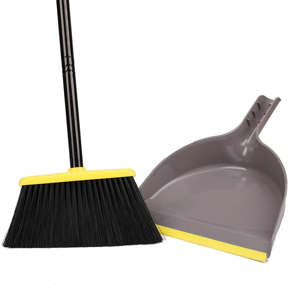 Angle Broom with Dustpan,Dust pan Snaps On Broom Handles by TreeLen