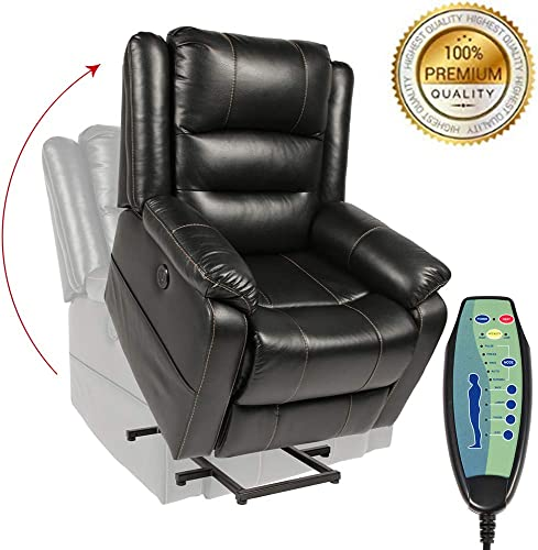 PieDle Electric Power Lift Recliner Chair,Recliners for Elderly, Home Sofa Chairs with Heat Massage, Remote Control, 3 Positions, 2 Side Pockets and USB Ports Leather, Black