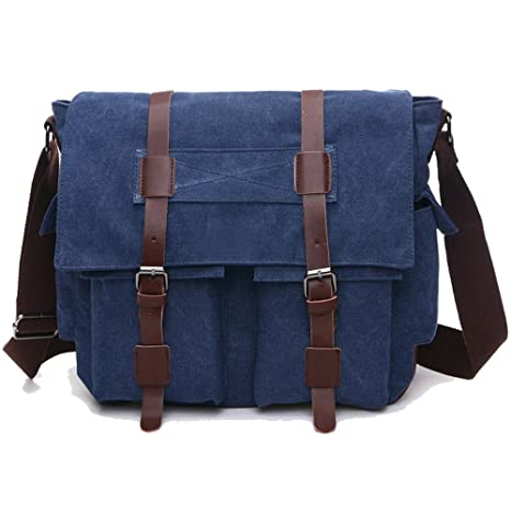1d500484e647 Men s Messenger Bag Laptop Satchel Vintage Shoulder Military Crossbody  Sling Working Bag Bookbag Briefcase Fits 14