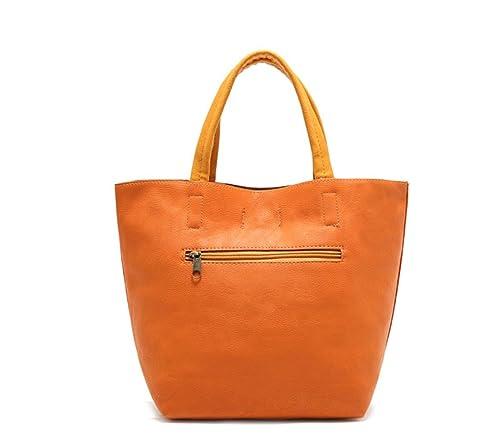 f5fea61c22ec Flowertree Women's Faux Leather Handmade Pebbled Tote Bag Small Size  (orange)