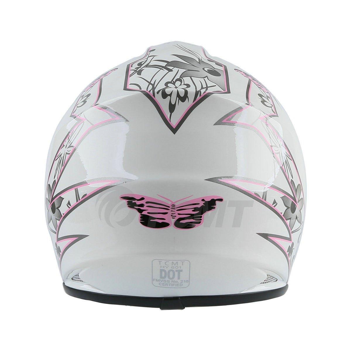 TCMT Dot Youth /& Kids Motocross Offroad Street Helmet Black Skull Motorcycle Helmet Silver Dirt Bike Helmet+Goggles+gloves M