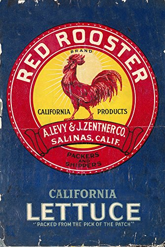 - Red Rooster Vegetable - Vintage Crate Label (9x12 Fine Art Print, Home Wall Decor Artwork Poster)