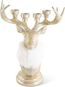 K&K Interiors 54338A 20.5 Inch Antique Gold Deer Bust 4 Taper Candleholder w/Cream Fur