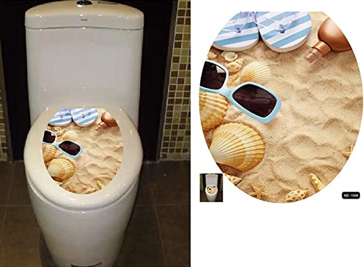Boodecal Welcome to The Beach Toilet Lid Cover Stickers for Bathroom Seat Peel and Stick Decals 15x 12 Inches