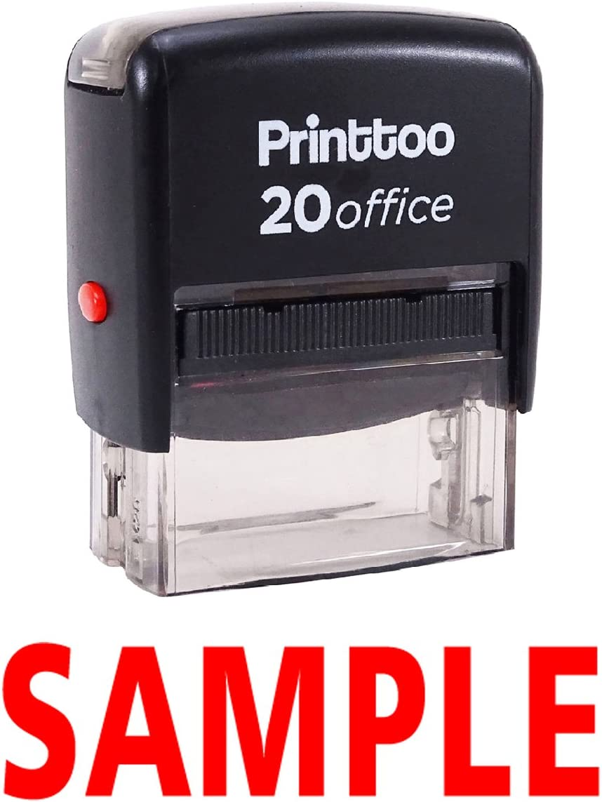 Printtoo Rubber Stamp Sample Self Inking Office Stationary Custom Stamp-Red