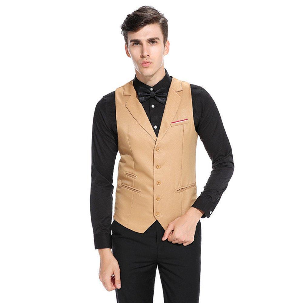 Männer im Anzug, Weste und männer Geschäft Casual Anzug - Revers einreihig Weste,Khaki,L