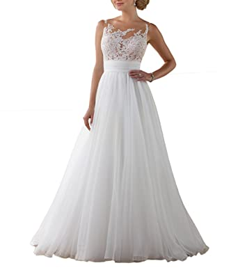Vweil Sexy Sleeveless Vestido De Novia Alluring Sheer Lace Bridal Wedding Dresses For Women VD8