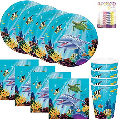 Ocean Sea Life Theme Party Plates Napkins and Cups Serves 16 with Birthday Candles - Ocean Party Supplies (Bundle for 16) -