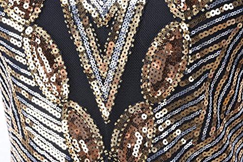 PrettyGuide Mujeres 1920 Gatsby Lentejuelas Art Deco Inspirado Vestido De Fiesta Flapper dorado
