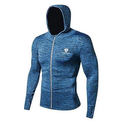 Fitness Running Training Zipper Mallas con capucha casuales, Sudaderas con capucha de secado rápido para