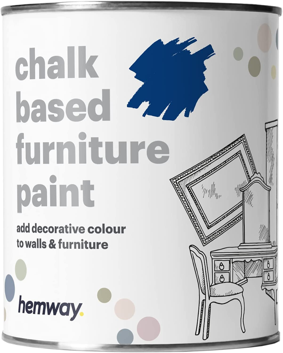 Hemway Royal Blue Chalk Based Furniture Paint Matt Finish Wall and Upcycle DIY Home Improvement 1L / 35oz Shabby Chic Vintage Chalky (50+ Colours Available)