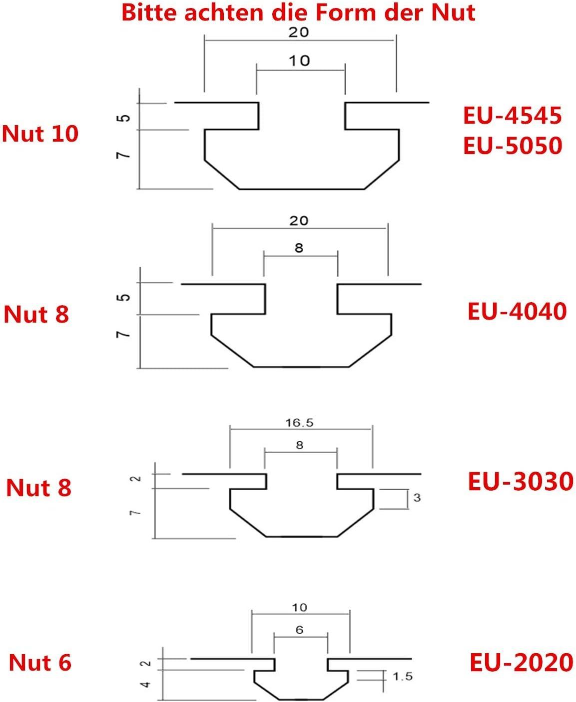 Justech 10x Winkel Befestigung Befestigungsmaterial 30x60 Nut 8 Raster Streben Aluprofil