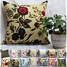 """TangDepot 100% Cotton Floral/Flower Printcloth Decorative Throw Pillow Covers /Handmade Pillow Shams, 14 Color and 10 Size options, Light Black, Peach Blossom, Red Rosebush, Red And Green Leaf, White Magnolia, Fantastic Flowers, Chrysanthemum, Peony, Red And Navy Flower, Blue Floral, Pink Floral, Blue Wheel, Red Wheel, Tree Rings, 12"""" x 12"""", 12"""" x 18"""", 12"""" x 20"""", 14"""" x 14"""", 16"""" x 16"""", 18"""" x 18"""", 20"""" x 20"""", 22"""" x 22"""", 24"""" x 24"""" and 26"""" x 26"""" - (26""""x26"""", S09 Red And Navy Flower)"""