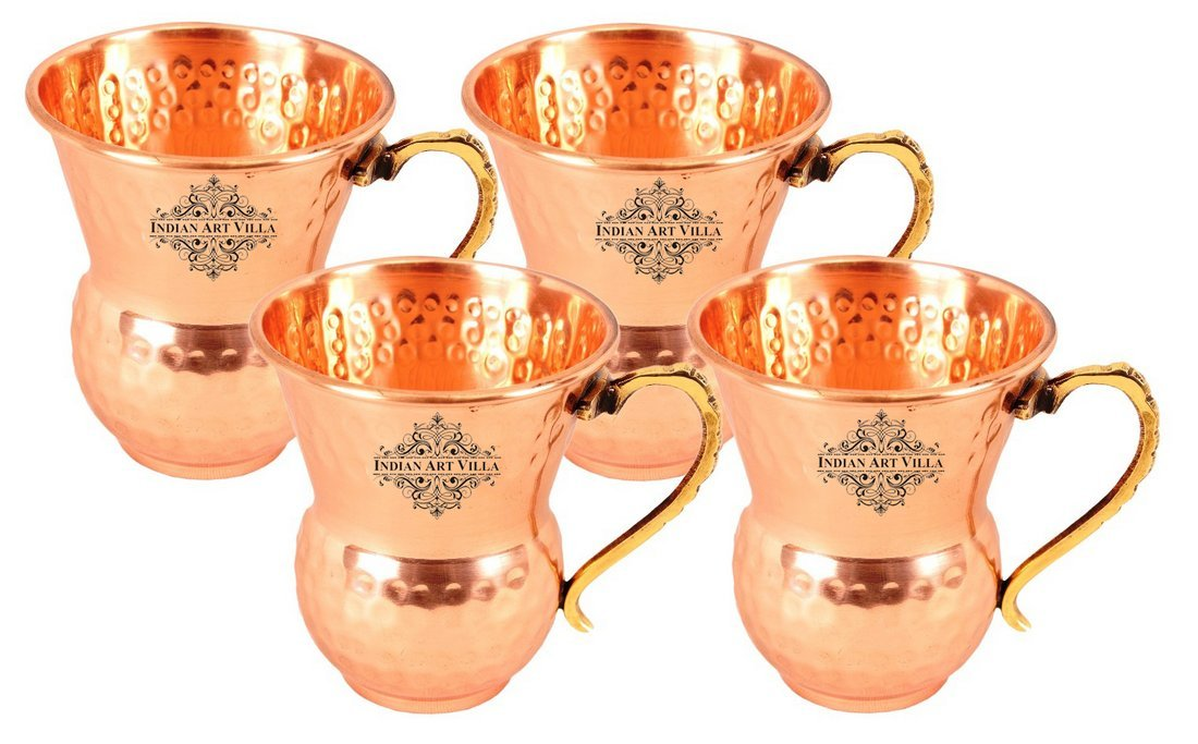 IndianArtVilla Set of 4 Pure Copper Glass Cup with Brass Handle 400 ML each - Serving Water Juices Drinkware Home Hotel Restaurant Tableware