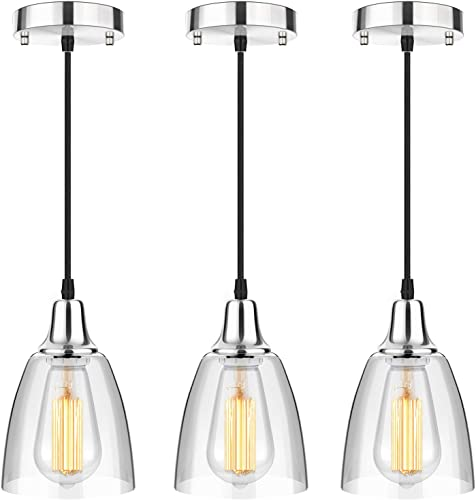 3-Pack Glass Pendant Lighting Kitchen Island