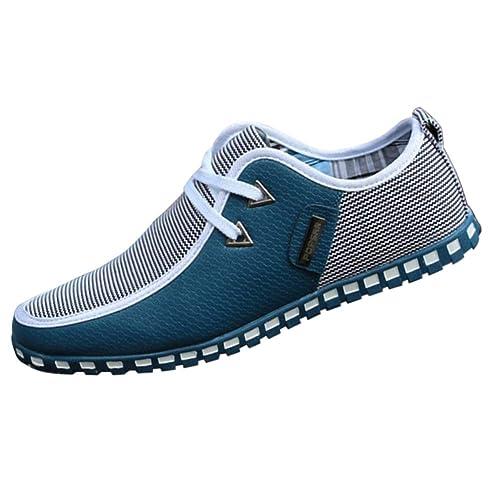 Tenthree Zapatos para Hombre Mocasines - con Cordones Náuticos Ligero Confortable Respirable Suela Blanda Cuero Casual Zapatos de Conducir: Amazon.es: ...