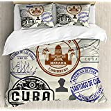 Lunarable Havana King Size Duvet Cover Set, Travel Concept Passport Stamp Design of Cuban Cities and Landmarks, Decorative 3 Piece Bedding Set with 2 Pillow Shams, Cobalt Blue Grey and Dimgrey