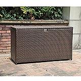 JOIVI Outdoor Storage Deck Box, Espresso Brown Aluminum Frame Wicker Storage Bin Deck Box, 130 Gal