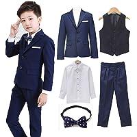 Angelmemory Conjunto de 5 trajes formales para niños de esmoquin para niños pequeños, conjunto de trajes de chaqueta…