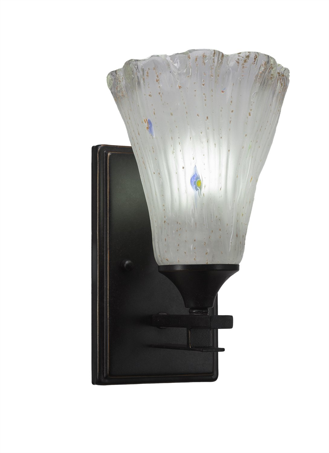 Toltec Lighting Uptowne 1 Light Wall Sconce Frosted Crystal Glass Dark Granite