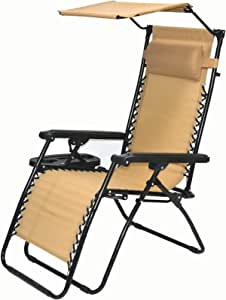 BTEXPERT CC5044BG Zero Gravity Chair Case Lounge Outdoor Patio Beach Yard Garden with Utility Tray Cup Holder Beige (One Piece, Tan with Canopy)