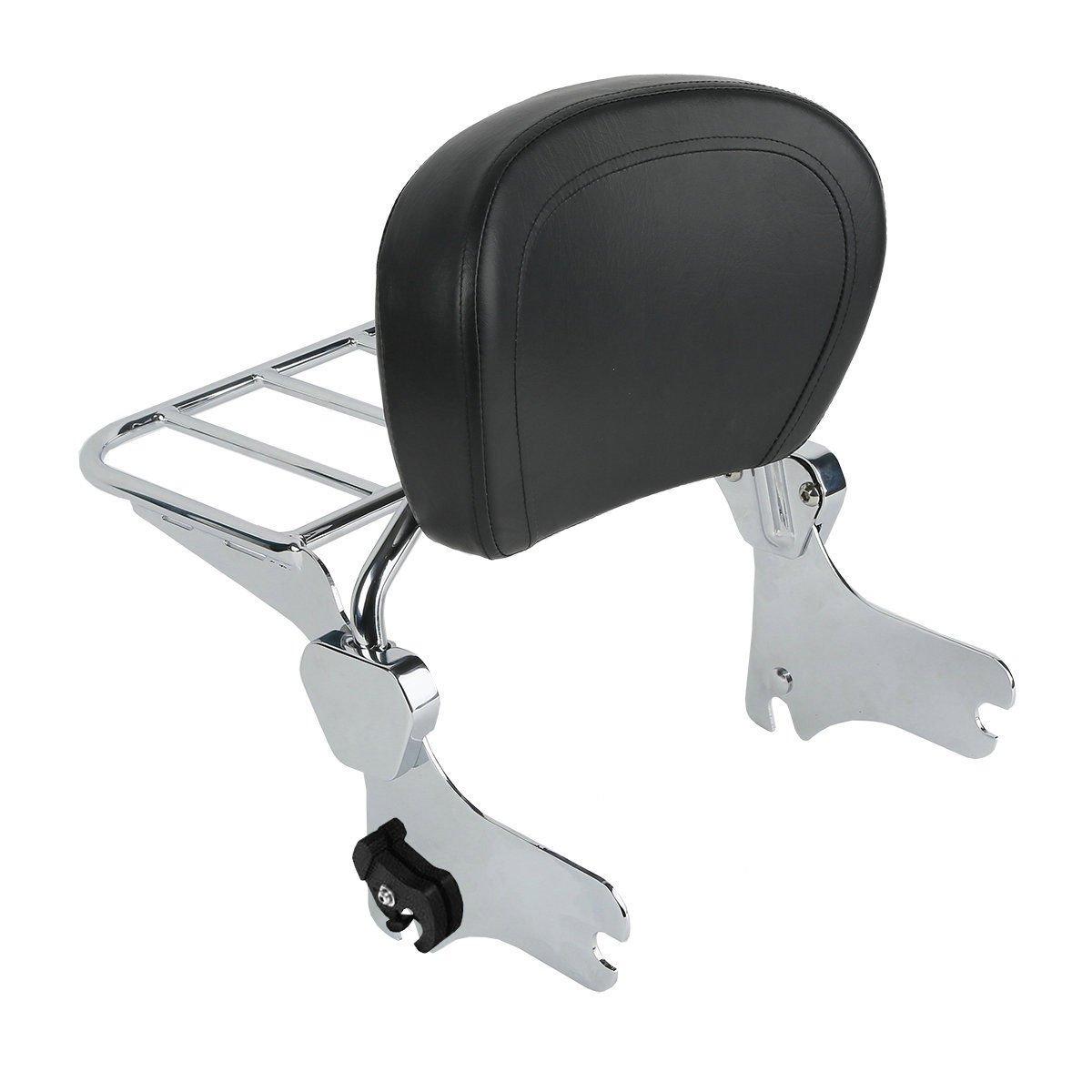 BBUT Matte Black Backrest Sissy Bar W//Luggage Rack For Harley Touring FLHR FLHX FLTR FLHT 1997 1998 1999 2000 2001 2002 2003 2004 2005 2006 2007 2008
