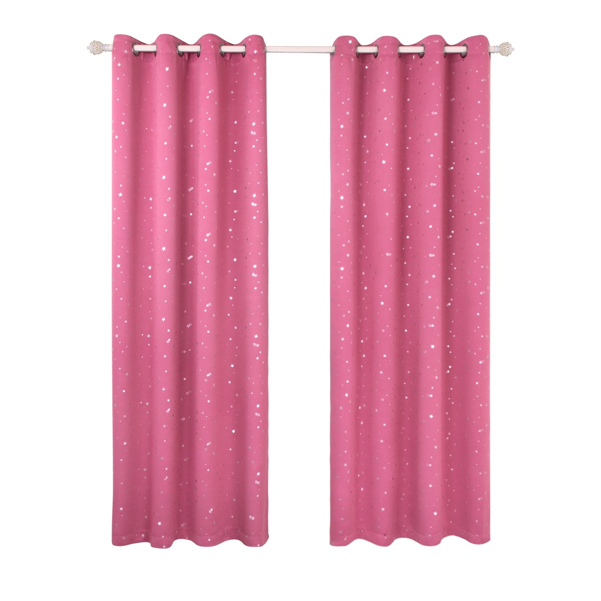 BGment Silver Star Foil Printed Room Darkening Thermal Insulaed Curtains for Bedroom 2 Panels, Grommets Top (42'' Wx84''L Each Panel,Pink)