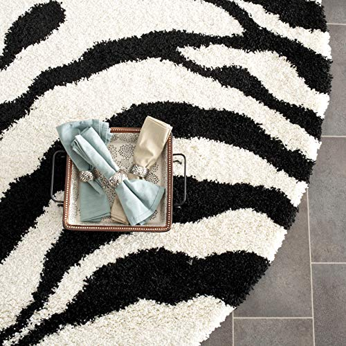 Wool Zebra Rug - Safavieh Zebra Shag Collection SG452-1290 Ivory and Black Round Area Rug (5' Diameter)