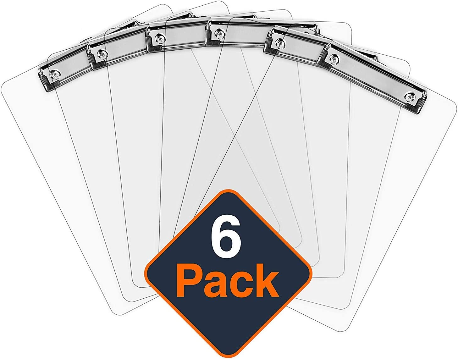 Plastic Clipboards (Set of 6) Transparent Clipboard (Clear) Strong 12.5 x 9 Inch   Holds 100 Sheets! Acrylic Clipboards with Low Profile Clip   Cute Clip Boards Board Clips