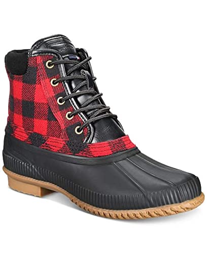 75b161ade376 Tommy Hilfiger Casey Men s Duck Rubber Rain Boots Buffalo Check Plaid (10)  Red