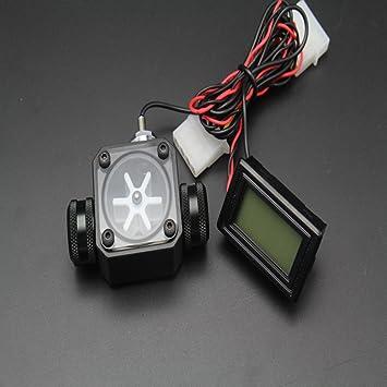 nhowe LED Termómetro 3 way medidor de flujo con rígido tubo de acrílico 14 mm OD Conector de compresión para ordenador líquido agua de refrigeración, ...