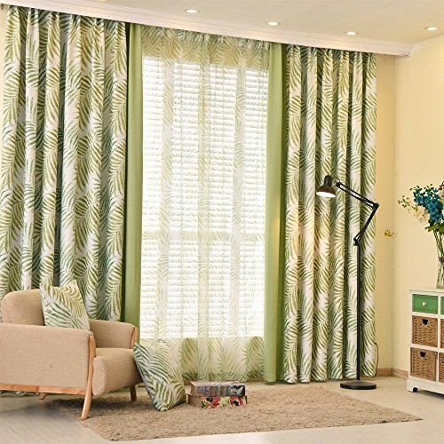 (Leyden TM Grommet Top Country Bamboo Leaves Print Curtain Window Panels, Green ,42-Inch by 63-Inch (1 Panel))