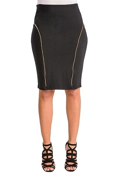 1e168a58066 Poetic Justice Curvy Women s Stretch Ponte Zipper Trim Classic Pencil Skirt  Size Small Black